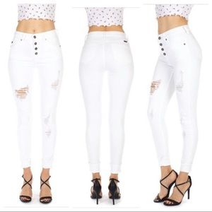 🆕 Kan Can White distressed Jeans